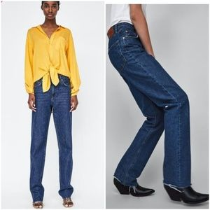 Zara the folded up straight in malibu blue denim